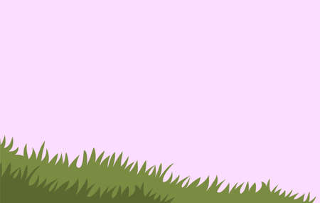 Grass in the field against the sky. Green field against a pink sky. Banner with place for text. Vector cartoon illustration for background.
