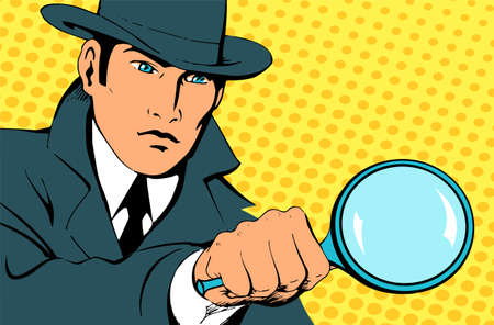 Male detective investigating with a magnifying glass. Looking for evidence. Dressed in a retro raincoat and hat. Place for text. Vector illustration in pop art style.