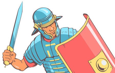 Roman soldier legionnaire in battle. In the hands of a sword and a red shield. Dressed in iron armor. Vector illustration in pop art style.