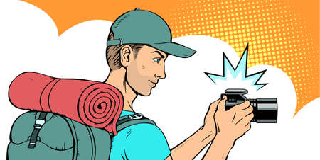 Young handsome man tourist with a backpack and a camera. There is a cap on the head. Side view. Vector illustration in pop art style.