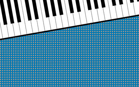 The piano keyboard. Classical musical instrument. View from above. Background template with place for text. Vector illustration.