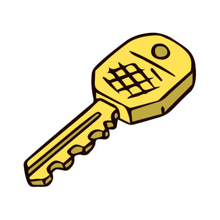 The door key is gold plated. Hand drawn object. Vector isolated illustration on white background.
