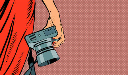 Female hand with a camera. Woman in a red dress. Photographing in the studio. Vector banner illustration in pop art style.