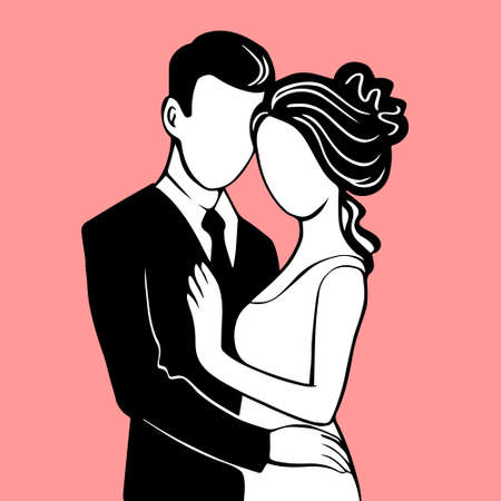 Silhouette of the bride and groom. Beautiful newlywed couple. Template for decorating wedding cards and invitations. Vector illustration with pink background.