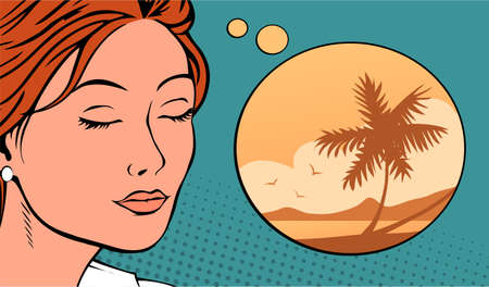 Young beautiful woman is dreaming about a resort. Eyes closed represents a beach holiday with a palm tree. Vector illustration pop art.