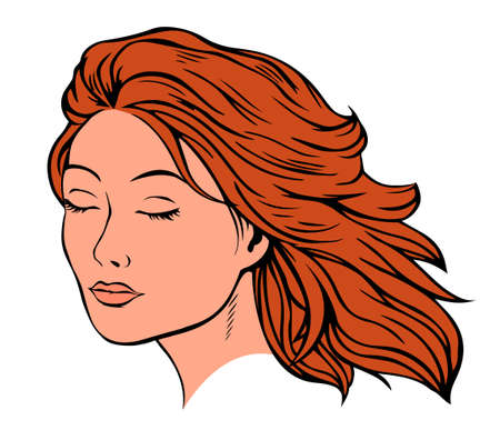 Portrait of a beautiful girl. The eyes are closed. Freehand drawing for beauty salons and labels. Vector isolated illustration pop art. White background. Ilustrace