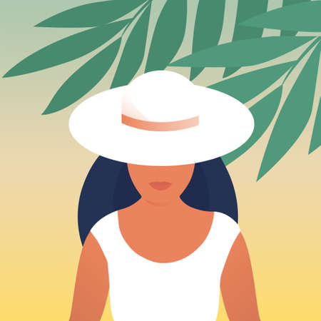 Beautiful young woman in a hat on nature. Tropical climate. Vector flat illustration.