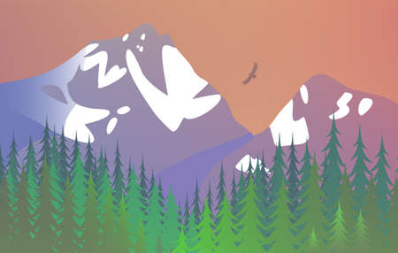 Nature with snowy mountains. Coniferous trees. Beautiful scenic landscape. Vector illustration.