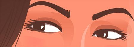 Beautiful female eyes. Woman gaze. Vector illustration.