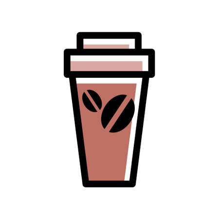 Takeaway cardboard cup of coffee. Hot tasty drink. Icon for the cafe. Vector isolated illustration. Vector Illustration
