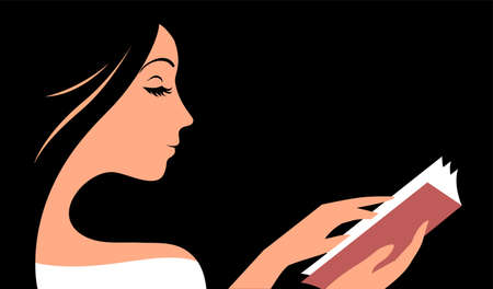 Beautiful young girl reads a book. Hobby and education concept. Vector illustration on a black background. Illustration