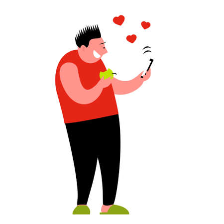 A man gets likes on social networks. Stands in slippers with an apple and a smartphone in his hands. Happy smile on your face. Vector isolated cartoon illustration on a white background.