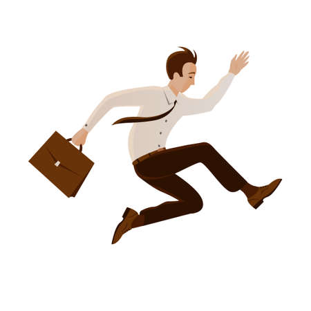 Businessman in a tie and with a briefcase jumping. The concept of overcoming obstacles, the risk and courage in decision making. Vector isolated cartoon illustration
