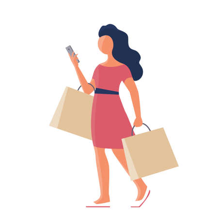 A beautiful girl goes shopping and talks on the phone. In the hands of the packages. Vector isolated flat illustration.