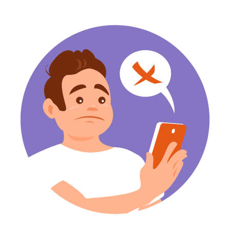 A young man looks disappointedly at a message or news on the phone. Smartphone in hand. Sad face. Vector cartoon illustration