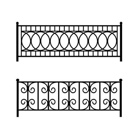 Patterned metal fence for a city street. Isolated black objects on a white background. Vector flat illustration for design. Ilustración de vector