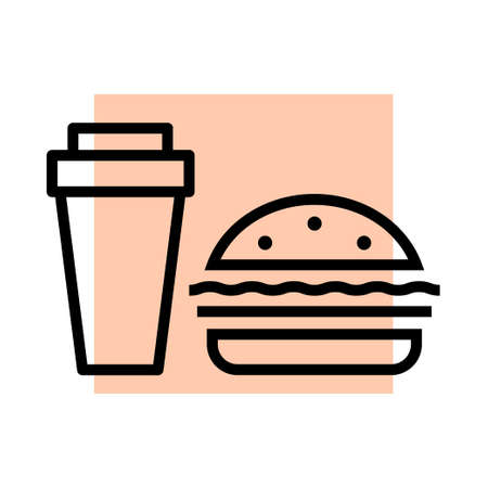 Coffee maker and hamburger. Icon on the theme of food and drink. Symbol cafe and diner. Vector outline illustration Vector Illustration