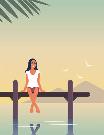 A young woman is resting by the sea. A girl are sitting on a pier above the water. Happy face with a smile. Tropical resort. Calm rest. Vector flat illustration with place for text