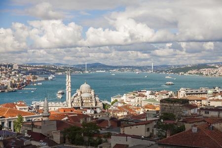 eminonu: Bosphorus, Eminonu The New Mosque and Bosphorus Bridge. Stock Photo