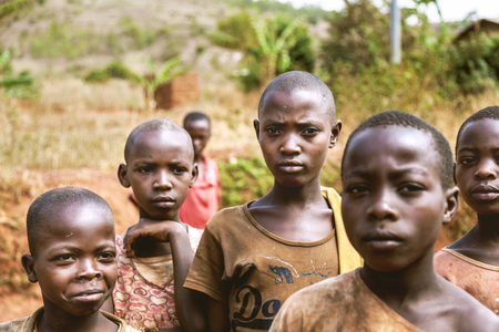 Kibuye, Rwanda, Africa - September 11, 2015:  Unknown children. The faces of Africa. They are not only looking with curious eyes but also posing the strangers who take their photographs.