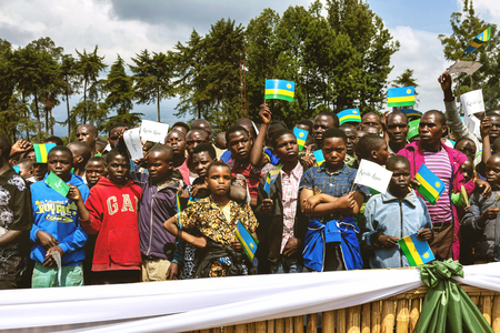 gorillas: Volcanoes National Park, Rwanda - September 5, 2015: Unidentified people. The ceremony to name mountain gorillas. The Rwandan people who come together for the traditional ceremony.