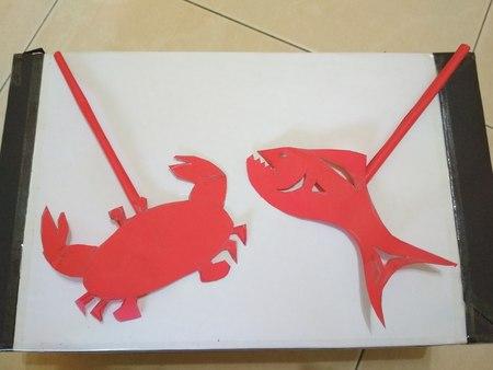 Artwork of Crab versus Fish Stock Photo