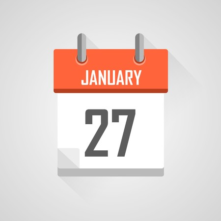 time bound: January 27, calendar date month icon with flat design
