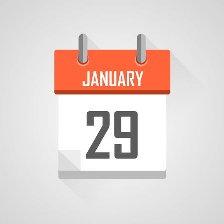 time bound: January 29, calendar date month icon with flat design