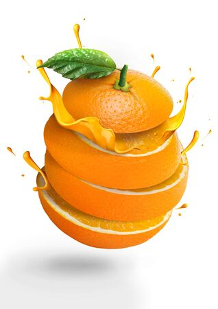Isolated Orange juice with fresh fruits and splashing liquid in  illustration on white background. Fresh sliced orange. advertising. oranges with juice pouring. cut 版權商用圖片