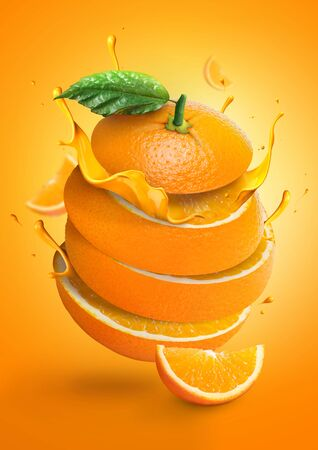 Orange juice with fresh fruits and splashing liquid in  illustration. Fresh sliced orange. advertising. oranges with juice pouring. cut 版權商用圖片