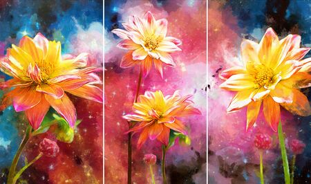 Collection of designer oil paintings. Decoration for the interior. Modern abstract art on canvas. Set of pictures with different textures and colors. white flowers on colorful galaxy background Reklamní fotografie
