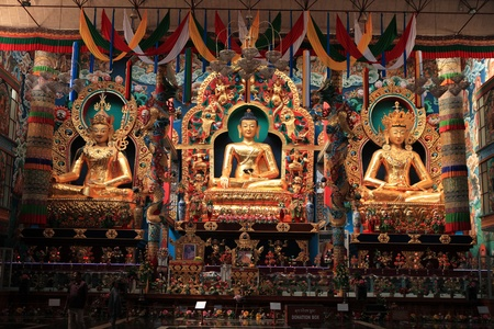 Bylakuppe is the Tibetitan Refugee resettlement, location of Lugsum Samdupling (established in 1961) and Dickyi Larsoe (established in 1969), in the west of Mysore district. The nearest town is Kushalnagar in Kodagu in the State of Karnataka.