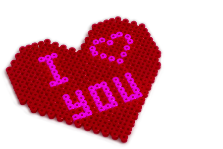 Fusible Beads heart shape with I Love You Banco de Imagens