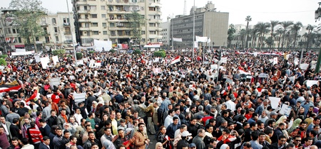 protesters: CAIRO - FEB 1: Egyptian anti-government protesters gather in Cairo