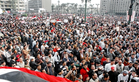 CAIRO - FEB 1: Egyptian anti-government protesters gather in Cairos central Tahrir Square. Cairo, Feb 1, 2011  Editorial
