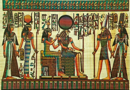Egyptische papyrus schilderij met elementen uit de Egyptische oudheid Redactioneel