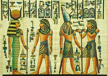 egyptian: Egyptian papyrus painting with elements of Egyptian ancient history
