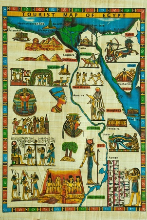 Egyptian papyrus painting with elements of Egyptian ancient history Stock Photo - 10678405