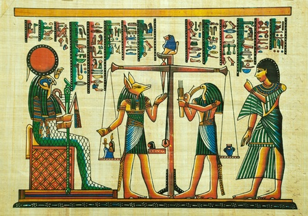 Egyptian papyrus painting with elements of Egyptian ancient history Stock Photo - 10678401