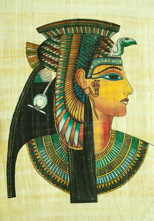 hieroglyphics: Egyptian papyrus painting with elements of Egyptian ancient history