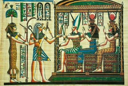 egyptian pyramids: Egyptian papyrus painting with elements of Egyptian ancient history