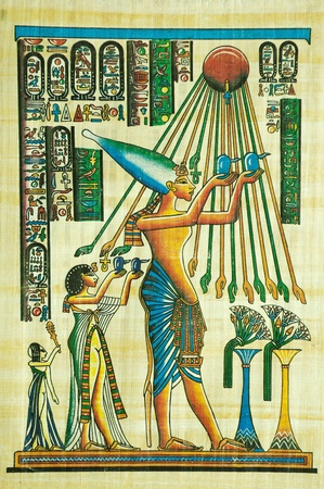 egyptian gods: Egyptian papyrus painting with elements of Egyptian ancient history