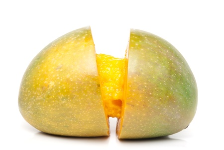 sectioned: Mango sectioned in the middle Stock Photo