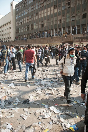 CAIRO � NOVEMBER 22:  View in Mohamed Mahmud Street during clashes with riot police. Cairo, November 22, 2011