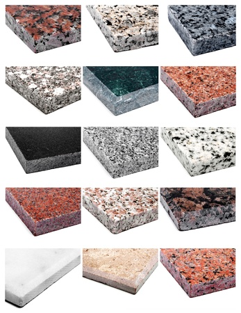 Collage 15 different samples of granite and marble photo