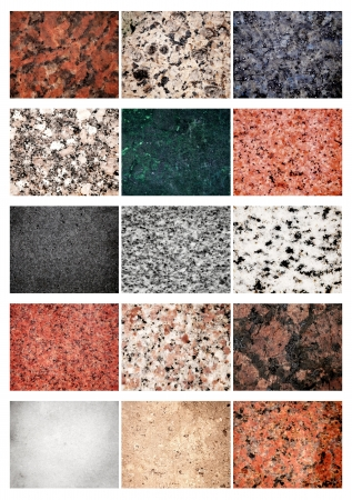 carrara: Collage 15 different samples of granite and marble