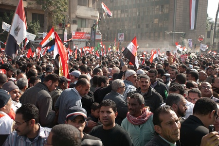 CAIRO – JAN 25: Thousands of Egyptians gather in Cairo Stock Photo - 12074042