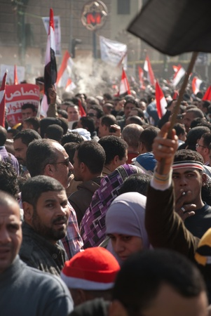CAIRO – JAN 25: Thousands of Egyptians gather in Cairo Stock Photo - 12074035