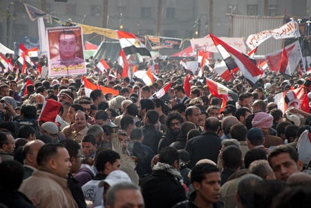 gather: CAIRO � JAN 25: Thousands of Egyptians gather in Cairo Editorial