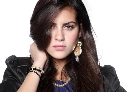 medium close up: Medium close up shot of a beautiful teenage girl  Stock Photo